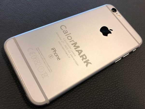 Aluminium mobiele telefoon markeren met een Calormark fiber laser